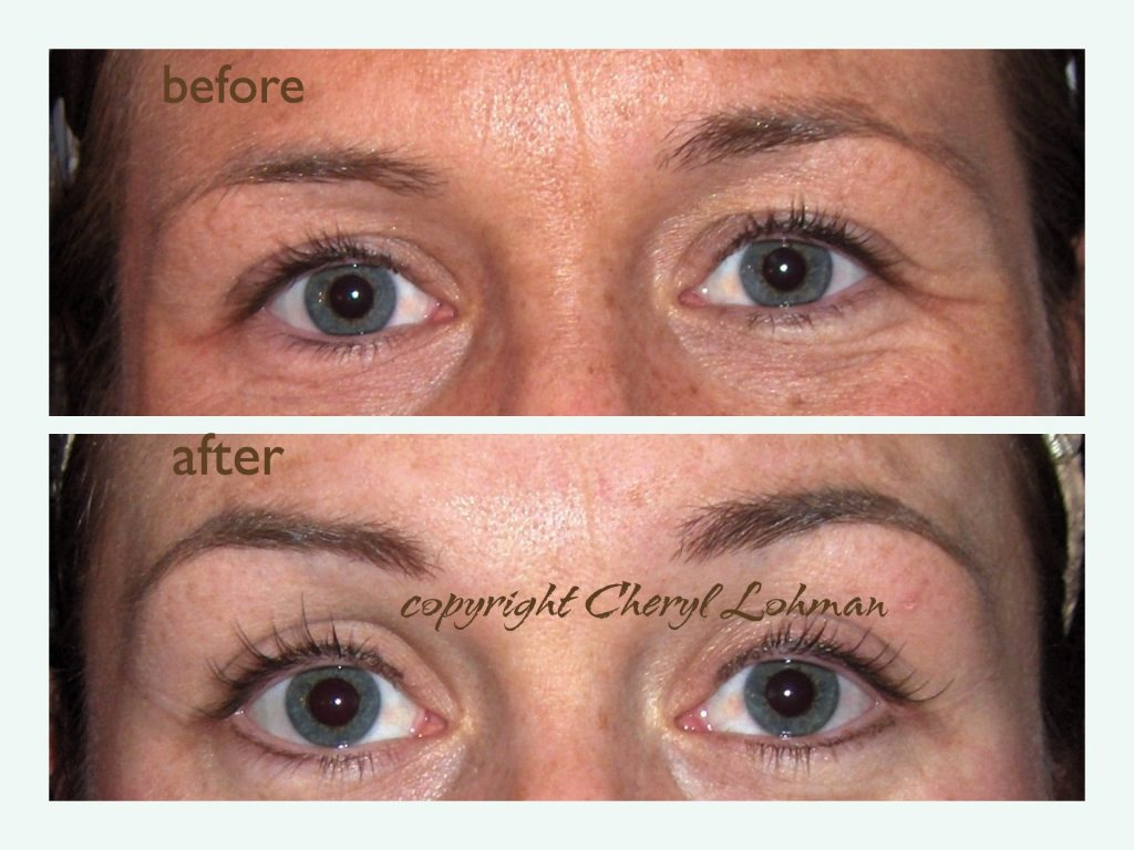 Client Eyebrows Before and After Permanent Cosmetics