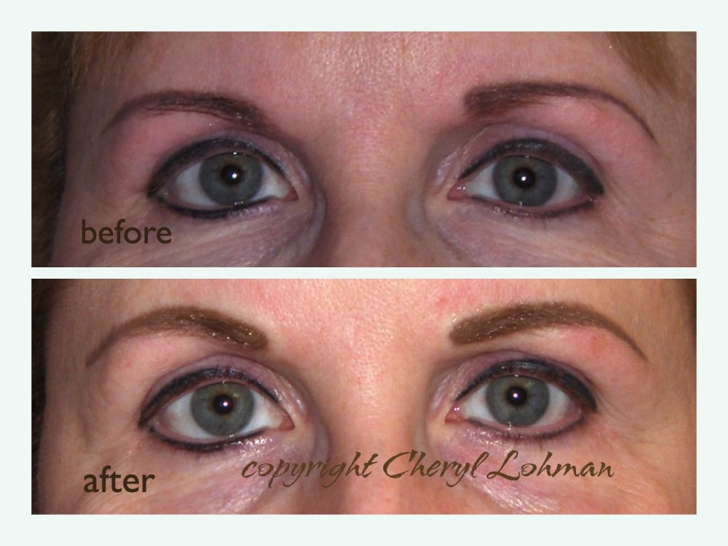 Client Before and After Corrective Permanent Makeup