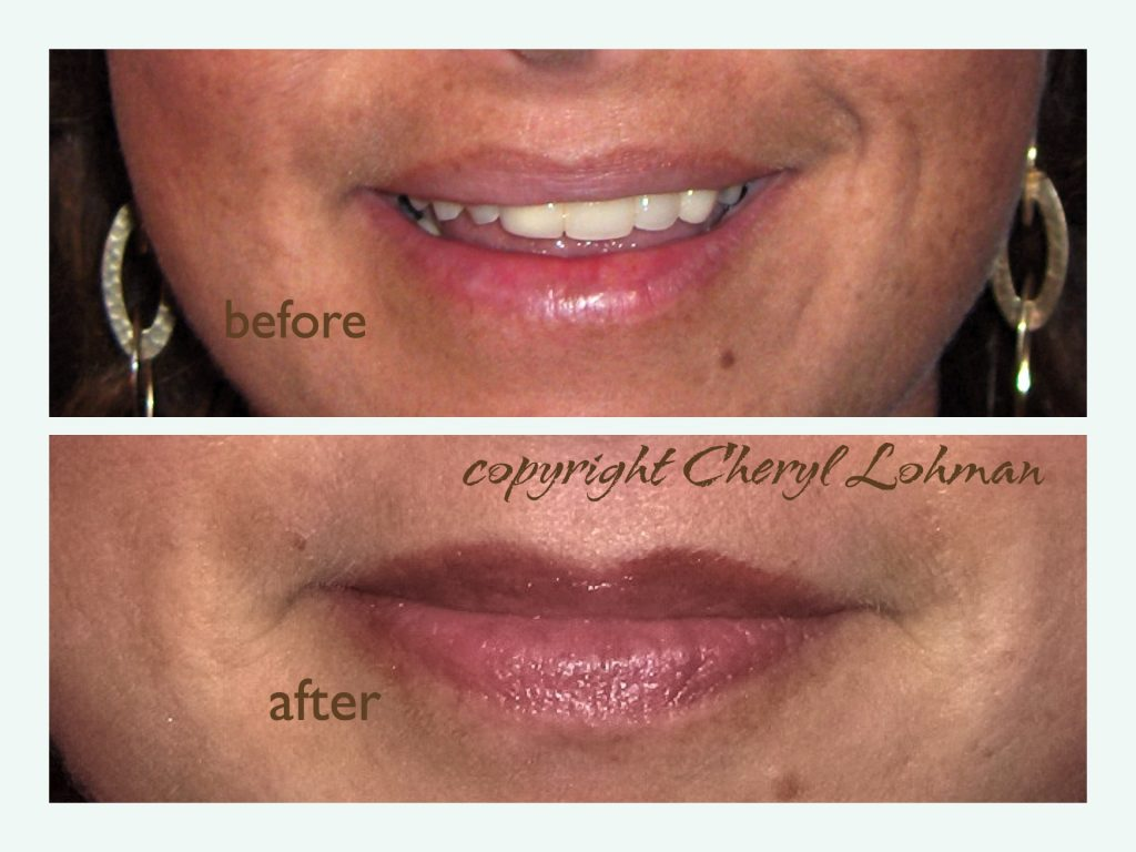 Client Lip Color Before and After Permanent Cosmetics